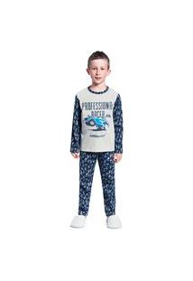 Pijama Infantil Abrange Estampa Carro Que Brilha No Escuro Mescla E Cinza Abrange Casual Cinza