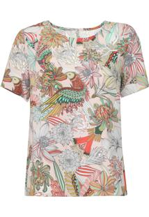Camiseta Colcci Floral Bege