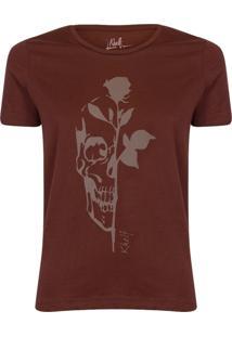 Camiseta Feminina Caveira Com Rosa