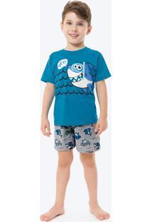 Pijama Azul Royal Tubarão Infantil