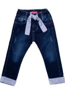 Calça Jeans Infantil Oznes Com Cinto Menina Azul Escuro - 1