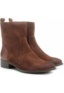 51c56c3eba Bota Couro Cano Médio Shoestock Flat Feminino - Feminino-Caramelo