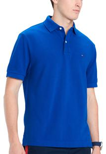 Polo Tommy Hilfiger Masculina Custom Fit Mazarine Blue