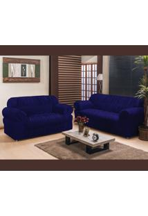 Capa De Sofá América 2 E 3 Lugares Elasticada Tecido Malha Gel Azul Marinho Borda Bordados Enxovais