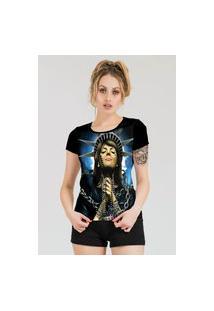 Camiseta Stompy Estampada Feminina Modelo 5 Preta