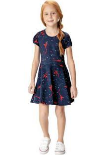 Vestido Azul Escuro Evasê Ladybug® Malwee Kids