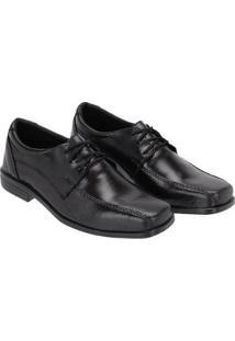 Sapato Social Infantil Bico Quadrado Em Couro Selten Masculino - Masculino-Preto+Cinza