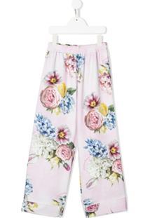 Monnalisa Calça Com Estampa Floral - Rosa