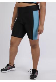 Bermuda Feminina Plus Size Ciclista Com Recortes Cintura Alta Preta