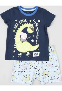 Pijama Infantil George Pig Manga Curta Azul Marinho