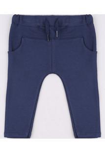 Calça Infantil Em Moletom Com Bolso E Cordão Azul Marinho