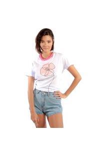 Camiseta Feminina Mirat Flor Em Aquarela Branco