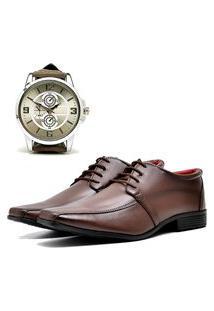 Sapato Social Elegant Com Relógio New Dubuy 804La Marrom
