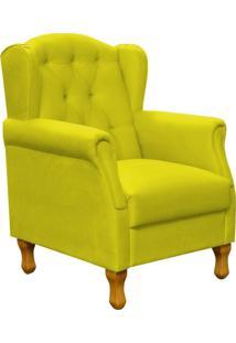 Poltrona Decorativa Para Sala De Estar Yara P02 Suede Amarelo - Lyam Decor - Amarelo - Dafiti
