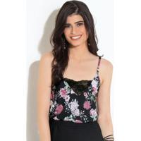 972f08671 Blusa Quintess Floral Preto Com Alças E Renda