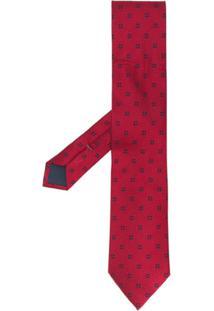 Ermenegildo Zegna Gravata De Seda Com Padronagem Geométrica - Vermelho