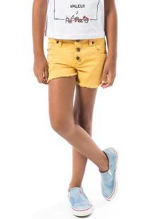 Short Infantil Reserva Sarja Botões Feminino - Feminino-Amarelo