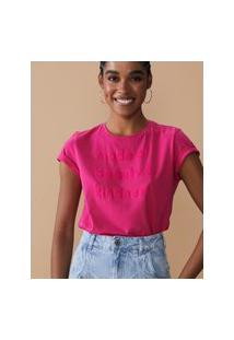Amaro Feminino T-Shirt Com Flocado Made Of Beauty & Kindness, Rosa