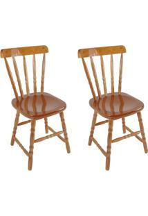 Conjunto 2 Cadeiras De Cozinha Dalas Mel - Única