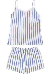 Pijama Azul Estampado Com Renda