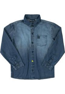 Camisa Infantil Jeans Manga Longa Azul