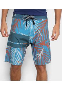 Bermuda Volcom Batik Palm Masculina - Masculino-Azul 2b25791de22