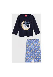 Pijama Tricae Longo Infantil Sleep Azul-Marinho/Azul