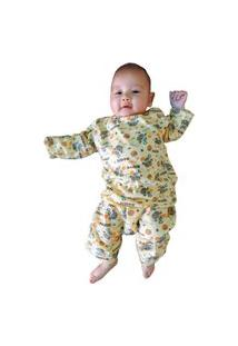 Pijama Manga Longa Infantil Hippo Tamanho Pp,P,M,G Amarelo