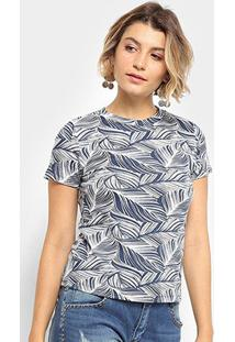 Camiseta Flora Zuu Estampada Feminina - Feminino-Azul+Branco