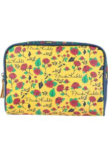 Nécessaire Frida Kahlo®- Amarela & Pink- 17X23,5X6,5Urban