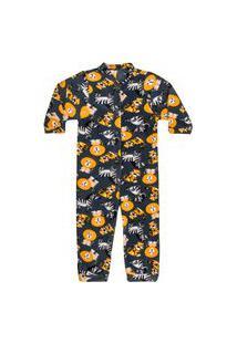 Macacão Pijama Bebê Soft Safari Cinza Everly