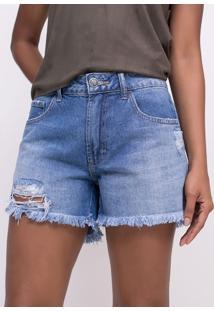Short Em Jeans Com Rasgos