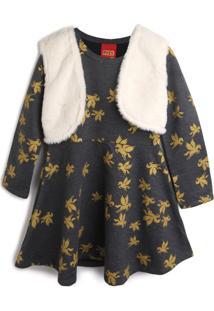 Vestido Kyly Infantil Pegasus Cinza/Off-White