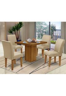 Mesa Para Sala De Jantar Com 4 Cadeiras Saint Thomas – Dobuê Movelaria - Mell / Bege