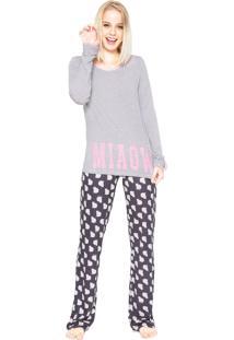0714aed2cc1260 Pijama Any Any Meow Cats Cinza/Azul