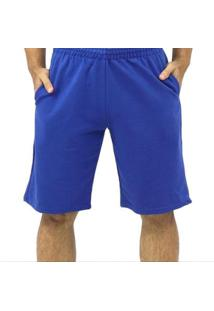 Bermuda Moletom Dpontes Elástico 3 Bolsos Masculina - Masculino-Azul