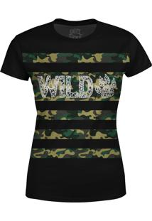 Camiseta Estampada Baby Look Over Fame Camuflada Preta