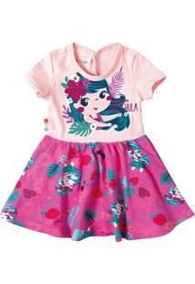 Vestido Estampado Com Aplicações Menina Zig Zig Zaa Rosa Claro - G