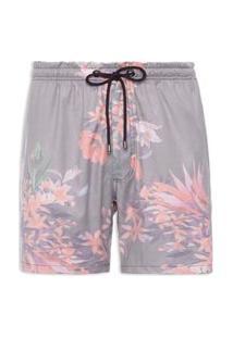 Bermuda Masculina Floral - Cinza
