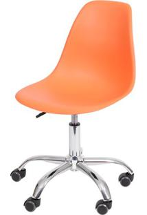 Cadeira Eames Com Rodizio Polipropileno Laranja - 19301 - Sun House
