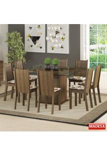 Mesa De Jantar 8 Lugares Camila Rustic/Hibiscos - Madesa Móveis
