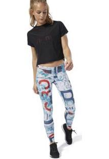 Calça Reebok F Crossfit Lux Feminina - Feminino-Azul