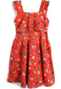 Vestido Malwee Kids Floral E Folhagem Laranja