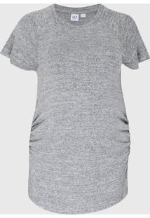 Camiseta Gap Gestante Drapeados Cinza - Cinza - Feminino - Poliã©Ster - Dafiti