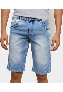 Bermuda Jeans Ecxo Básica Estonada Masculina - Masculino-Azul