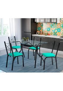 Conjunto De Mesa De Cozinha Com 4 Cadeiras Léticia Couro Sintético Verde