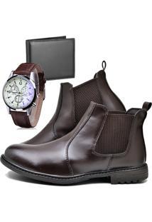 Botina Bota Fashion Com Carteira E Relógio Masculino Dubuy 258El Marrom - Kanui