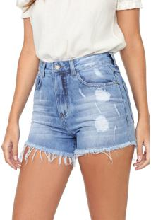 Short Jeans Mercatto Destroyed Azul