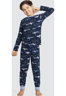 Pijama Meia Malha Azul