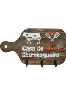 "Porta Chaves Tábua ""Casa De Churrasqueiro""- Marrom & Brakapos"